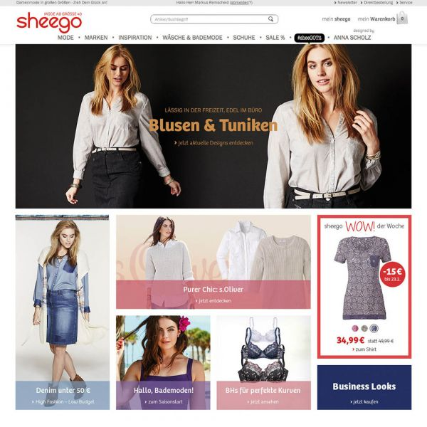 Screenshot des Online-Shops Sheego