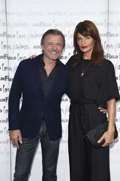 Walter Moser (CEO Airfield Fashion / Walter Moser GmbH) und Supermodel Helena Christensen  beim Airfield Fashion Cocktail